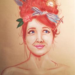 redheadgirl art illustration feather clock