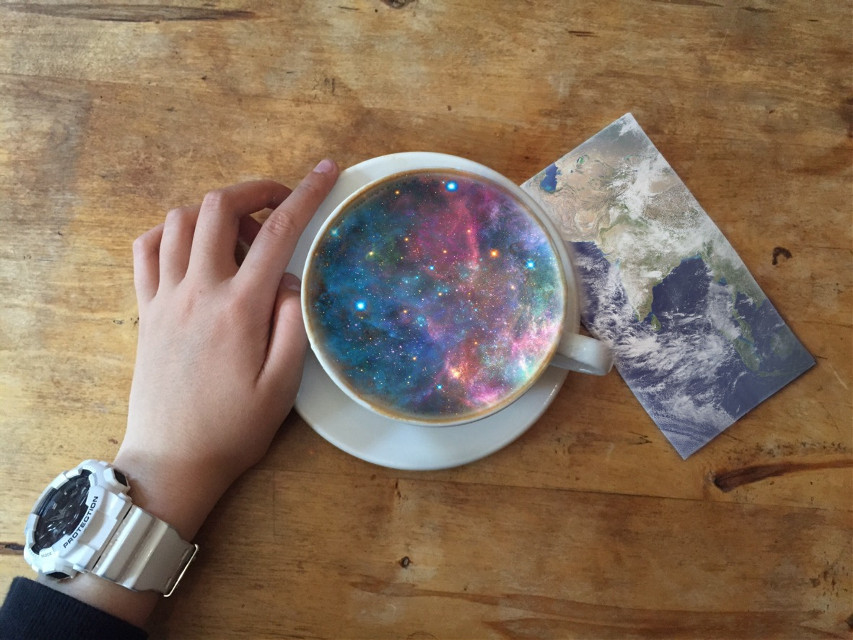 The wold and so much more can be held at your fingertips.  Request edits in the comments! Follow me! #edits #photography #galaxy #earth #coffee I love feedback!  Remember that I can do things like this, or sports, or anything else! #photography #photography