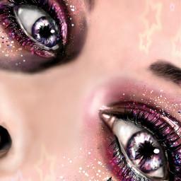 drawing artwork people colorful eyes glittter