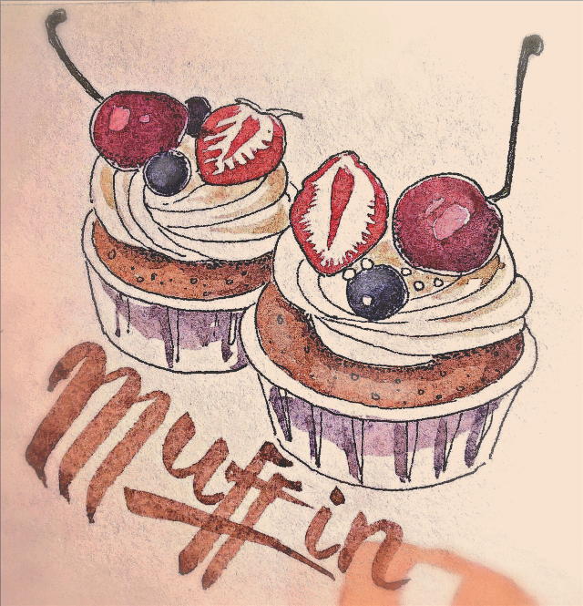 Muffin #sketch #sketchbook #art #drawing #graphic #ink #watercolors #aquarelle #muffin #food