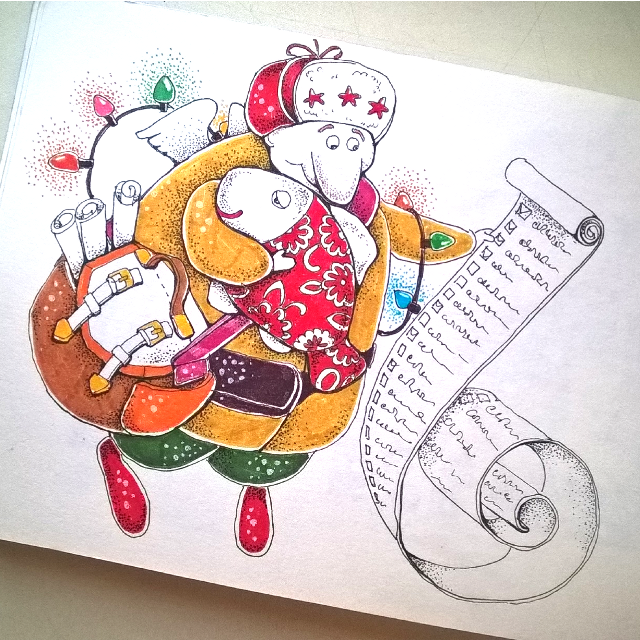 Father Frost's mail #sketch #sketchbook #art #drawing #graphic #ink #markers