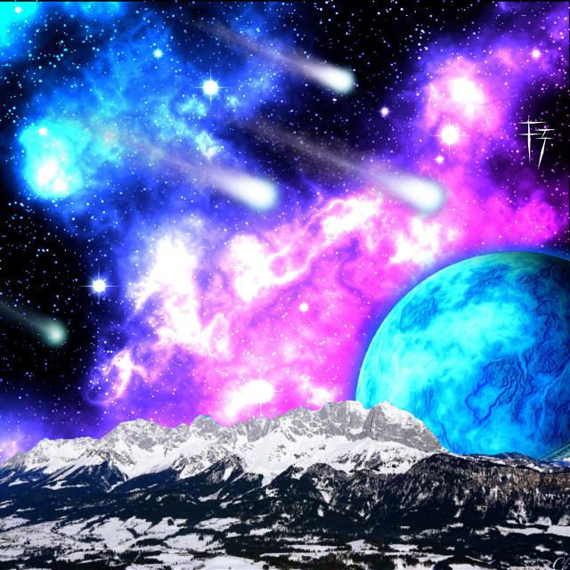 #ftemountain (featured)  Daily inspiration.  #galaxy  #madewithpicsart