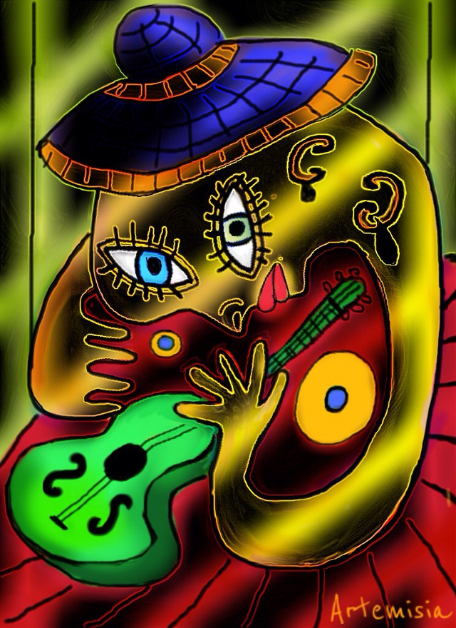 Gipsy musician   Vote and repost if you like! #wdppicasso #drawing