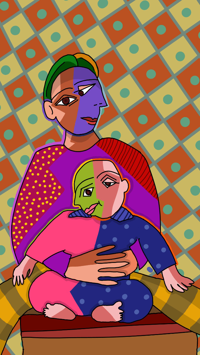 Inspired from Picasso style.  #wdppicasso #brothers #colorful @arnavindravan