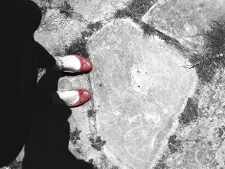 style red shoes colorsplash blackandwhite