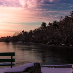 winter sunset snow ice pond