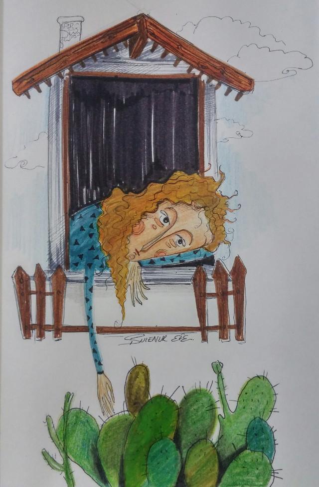 #illustration #illust #sketchbook #illustrationoftheday #colors #drawingoftheday #draw #mywork #artwork #creativework #paint #painting #drawing #eskiz #love  #artsy #artist #arte #art #illustrationart #childrenbookillustration #book #sketch #sketching #blue #watercolor #cactus  #woman  #pencere