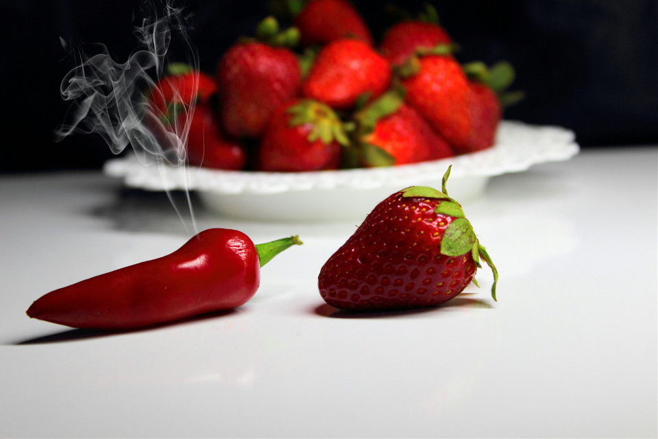 #photography  #Red pepper #Hot  #Strawberries