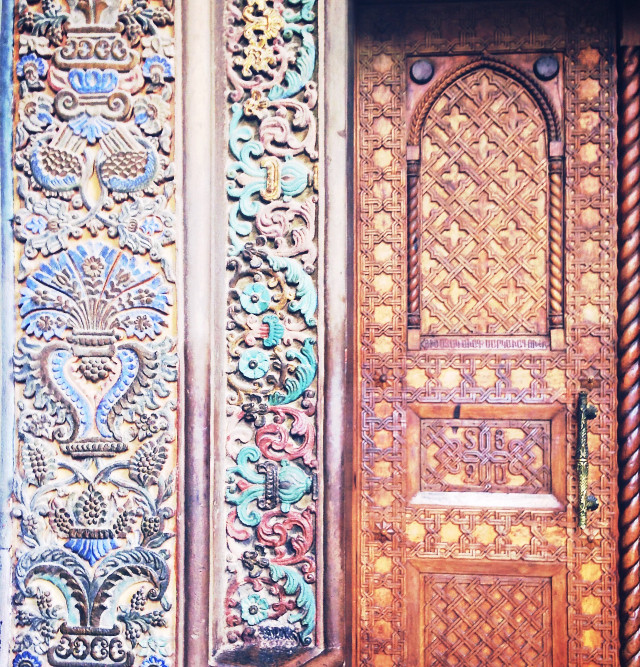 #Design #old #first #christian #cathedral #church #door #wall #Armenia #301AC #wood #handmade #colors #arcitecture  #amazing     #FreeToEdit