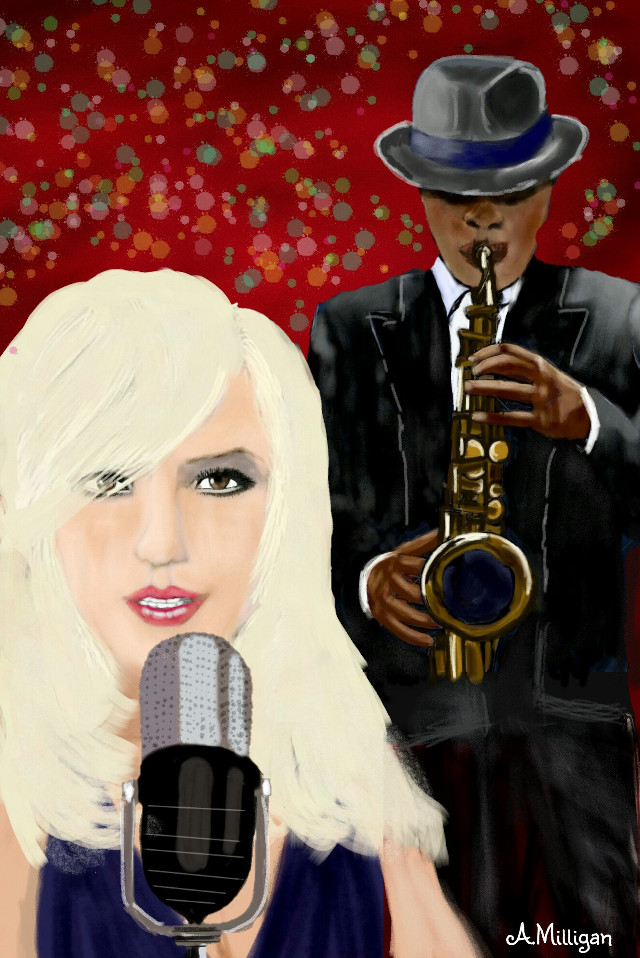#wdpjazz My first entry for wdpjazz 😊  #colorful #colorsplash #music #people  #sing  #draw.😊 ❤ 💚