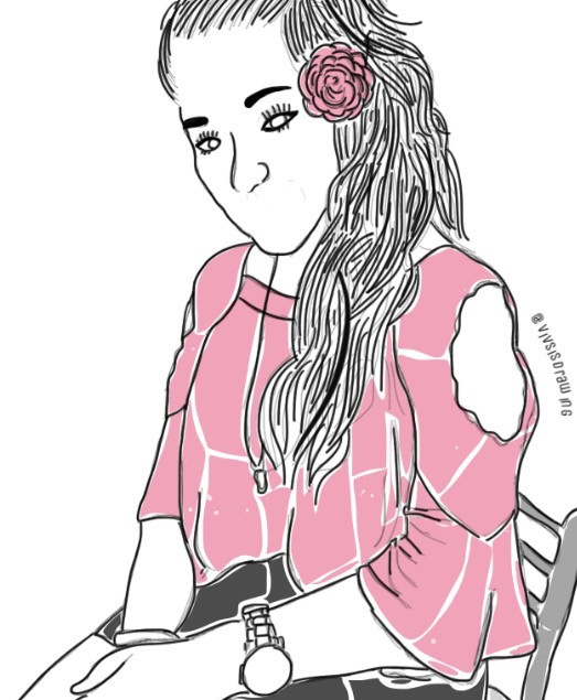 #girl #art #outline #outfit #draw #drawing #pink #pinkgirl #party #pic #photography #sit