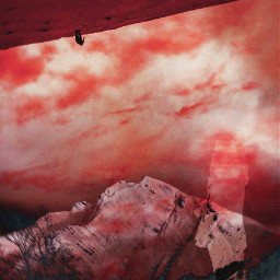 red sky mountains doubleexposure landscapre