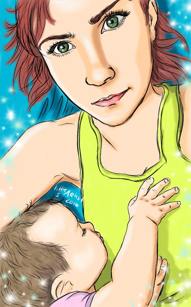 Snuggle time  #baby #colorful #cute #love #people #drawing #portrait #ink #artist #sketchbookpro #girl #digitalart #picsart