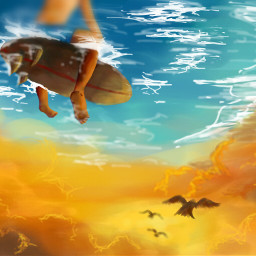 wdptwilight WDPshowmethesea colorful emotions cute artwork digitalart drawing beauty people imagination sky cloudy sea fanstasy surrealism surf surfing sunset sun bird