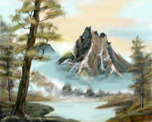 drawing painting digitalart nature mountain