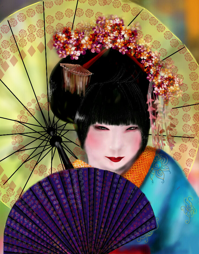 #wdphairstyle   Geisha.   #colorful  #colorsplash  #emotions  #cute  #flower  #nature  #popart  #portrait  #art  #wdphairstyle  #painting  #vintage